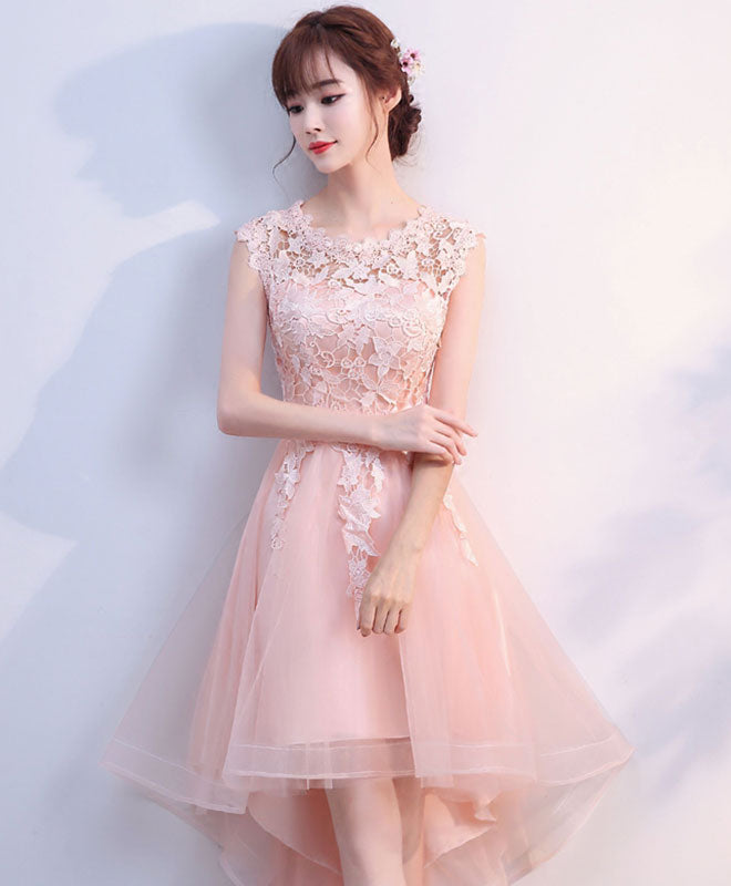 Pink tulle lace high low prom dress, pink homecoming dress