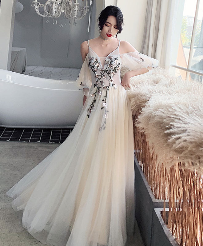 Light champagne tulle lace long prom dress lace formal dress