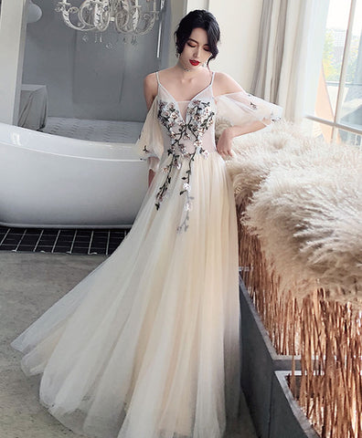 Champagne v neck tulle lace long prom dress, lace evening dress