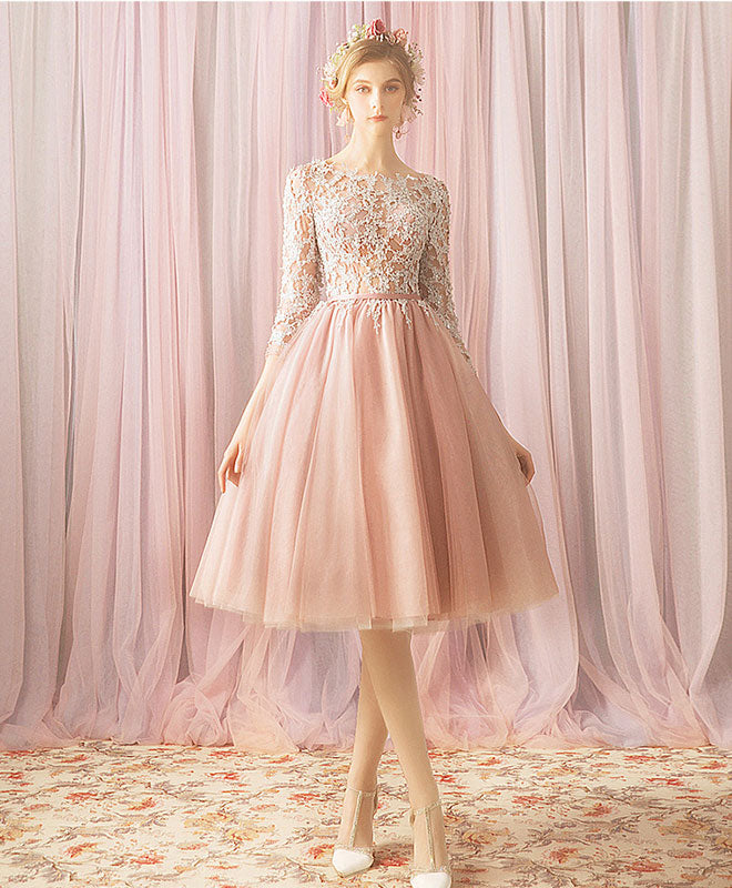 Pink round neck tulle lace short prom dress, bridesmaid dress