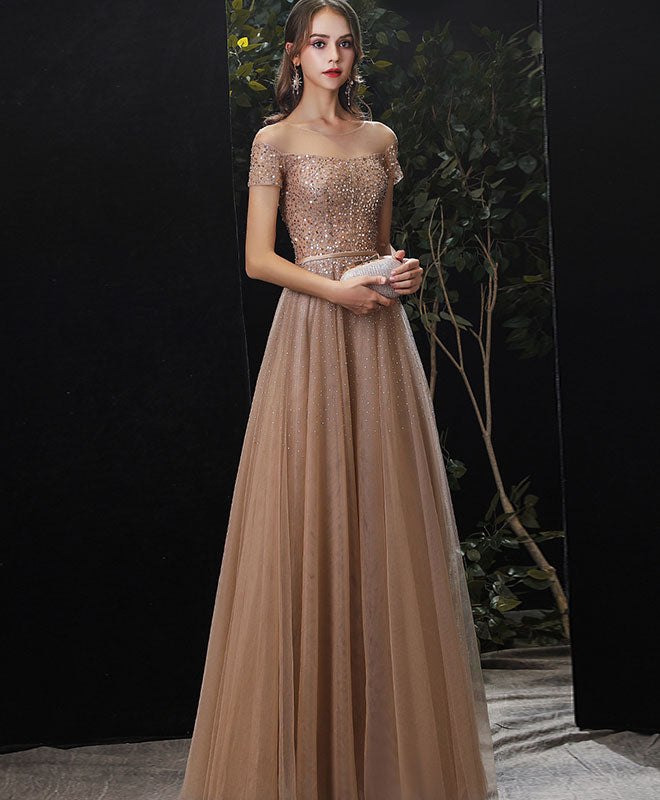 Gold tulle sequin long prom dress gold tulle formal dress