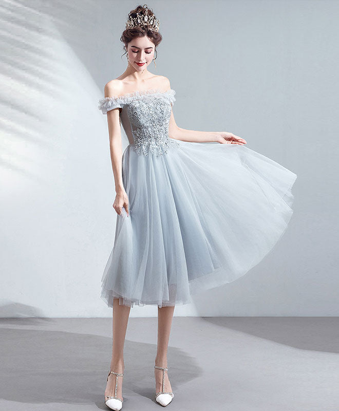 Gray tulle short prom dress gray tulle bridesmaid dress