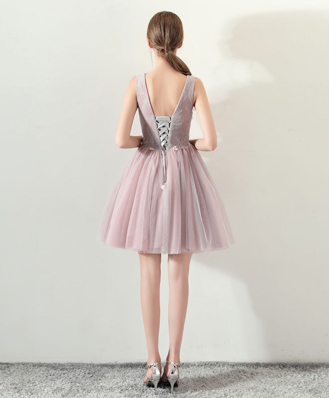 Cute v neck tulle short prom dress, pink homecoming dress