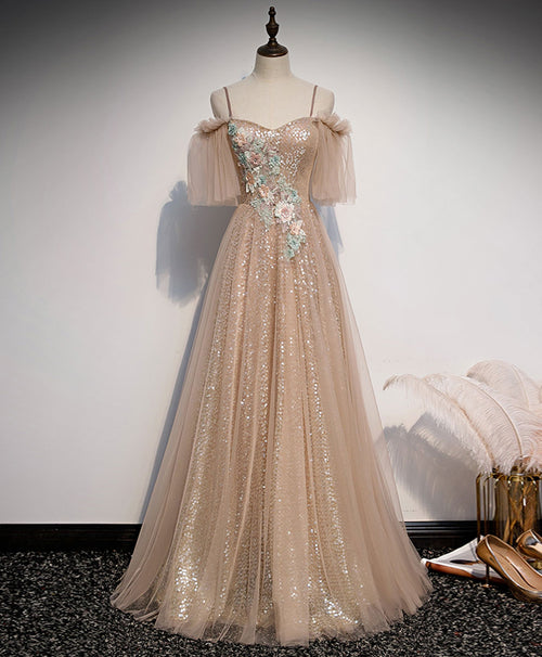 Champagne sweetheart tulle lace long prom dress tulle formal dress