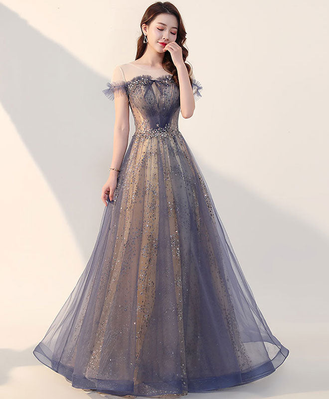Elegant tulle long prom dress, tulle formal dress