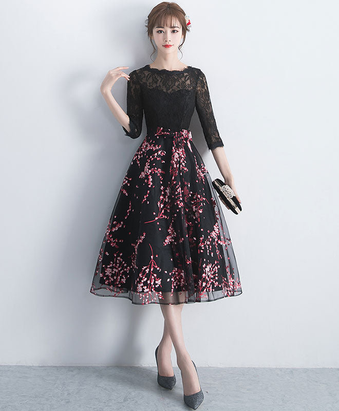Black lace tulle short prom dress, black lace bridesmaid dress
