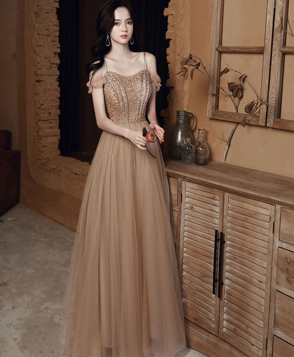 Champagne sweetheart tulle sequin long prom dress