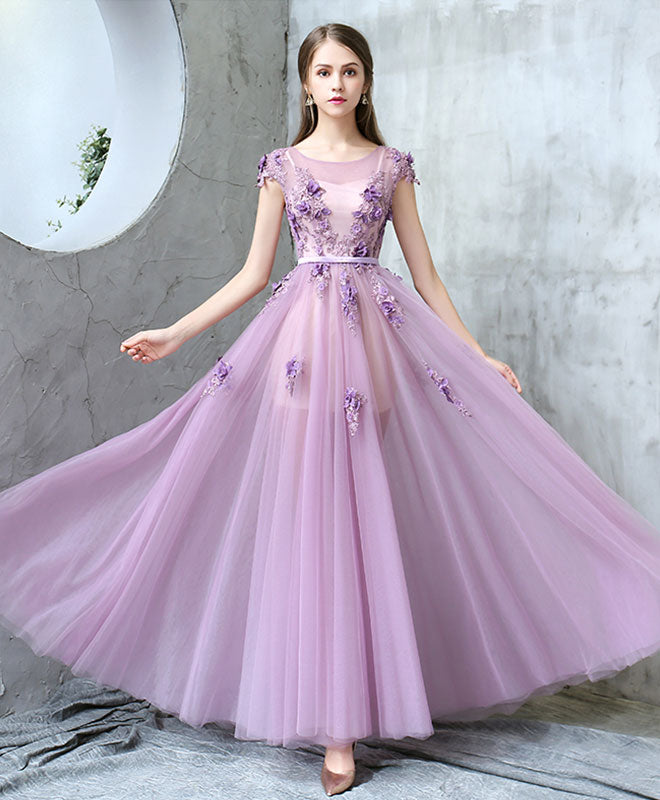 purple long prom dresses