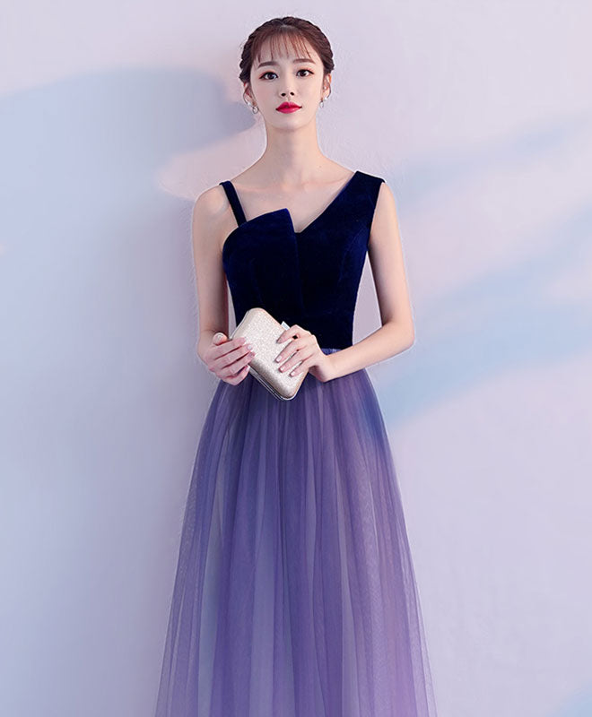 Purple tulle long prom dress, purple tulle bridesmaid dress