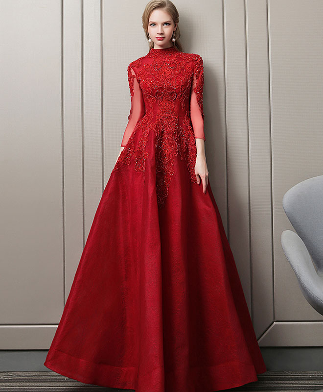 Burgundy lace long prom dress, burgundy evening dress