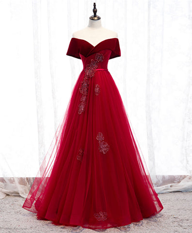 Burgundy tulle lace long prom dress burgundy formal dress