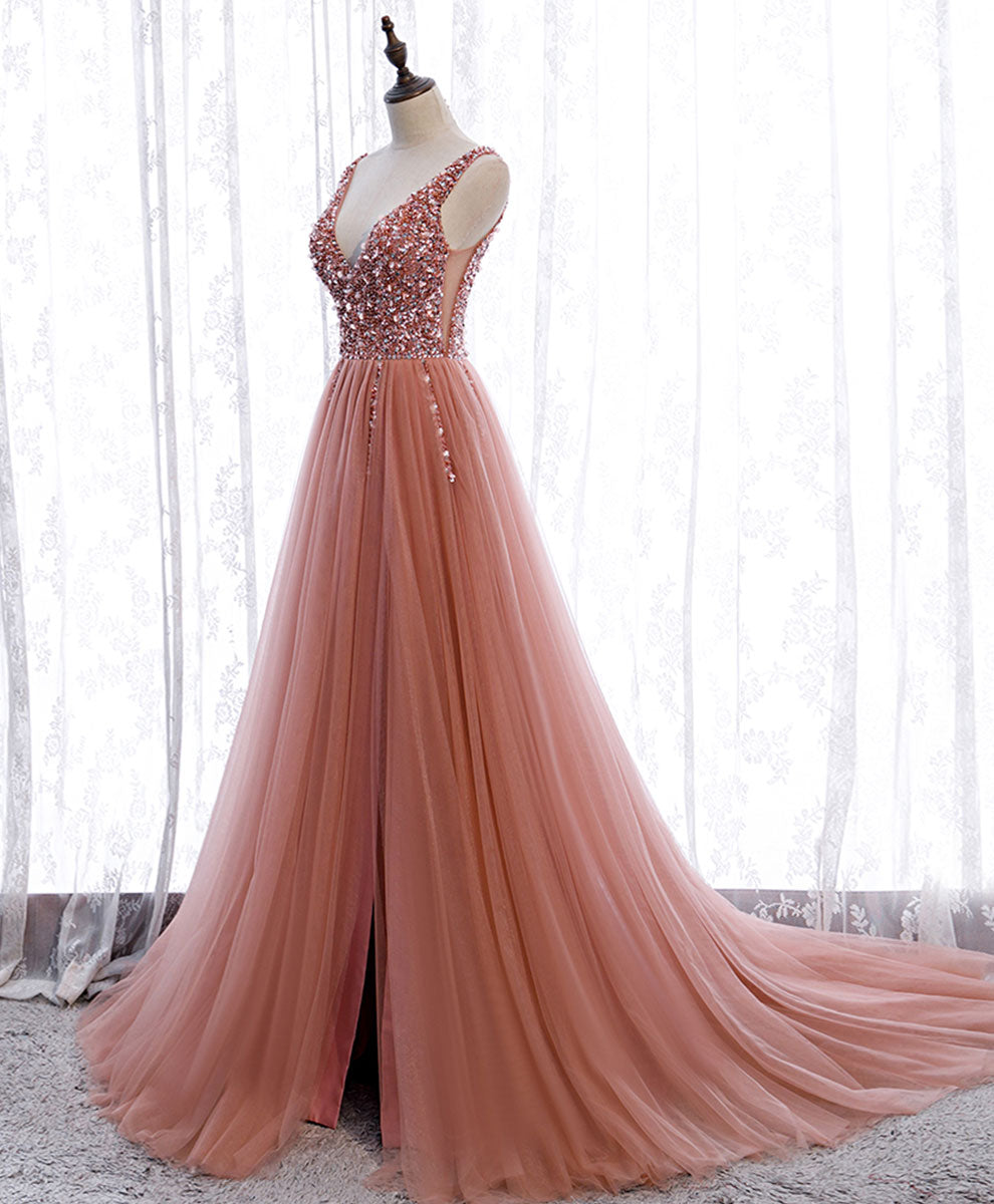 Pink v neck tulle sequin long prom dress pink formal dress