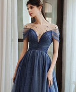 Blue tulle off shoulder sequin long prom dress blue evening dress