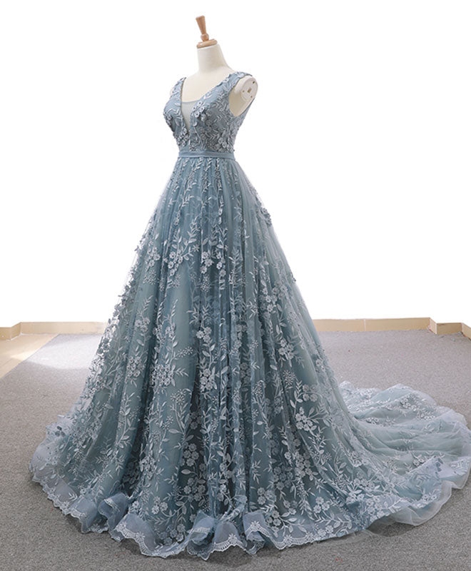Gray blue tulle lace long prom dress gray blue lace evening dress