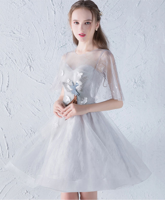 Cute gray tulle short prom dress, gray homecoming dress
