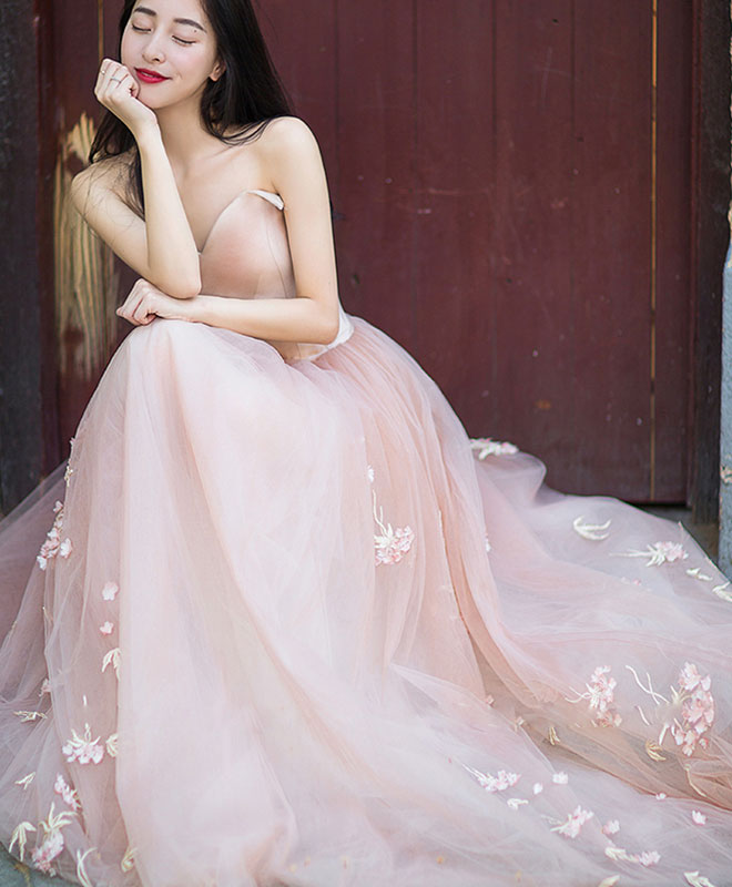 Simple pink tulle long prom dress, pink tulle formal dress