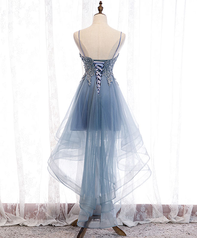 Blue sweetheart tulle lace high low prom dress, blue homecoming dress
