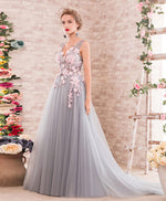 Gray A-line v neck tulle lace applique long prom dress, gray evening dress