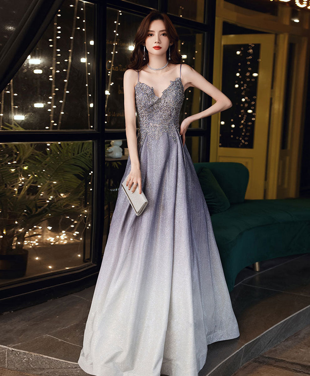 A-line lace sequin prom dress gradient color floor length formal party
