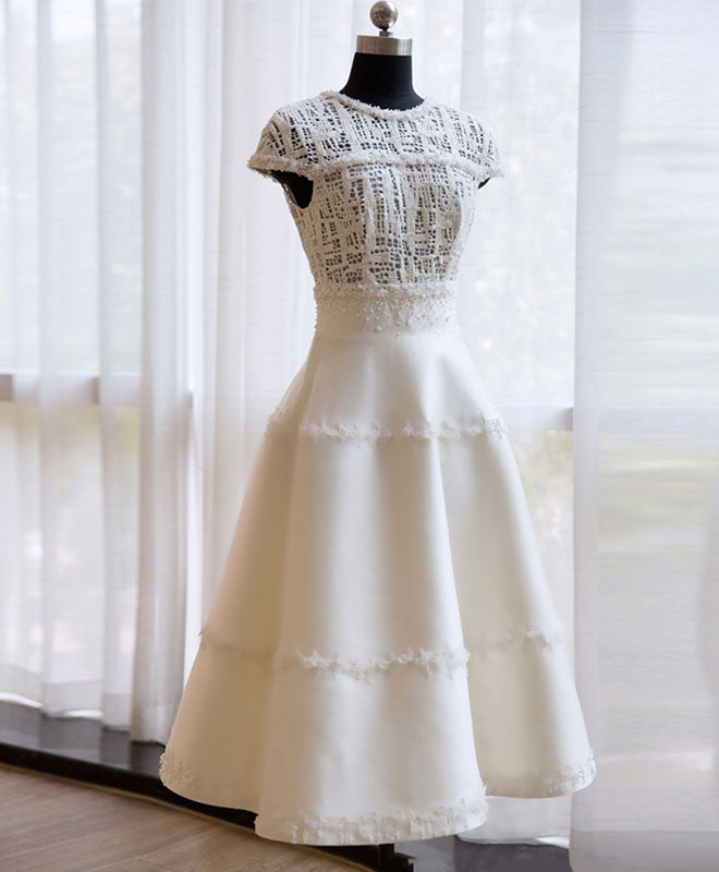 Unique white lace short pro dress, evening dress