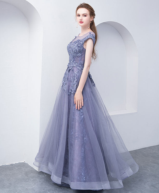Gray blue round neck tulle lace long prom dress, gray blue evening dress
