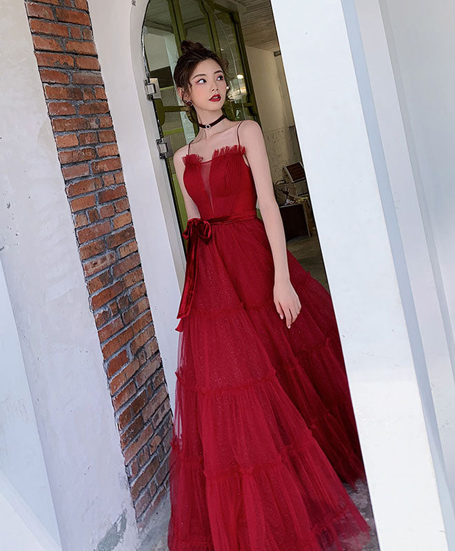 Burgundy A-line tulle long prom dress burgundy tulle formal dress