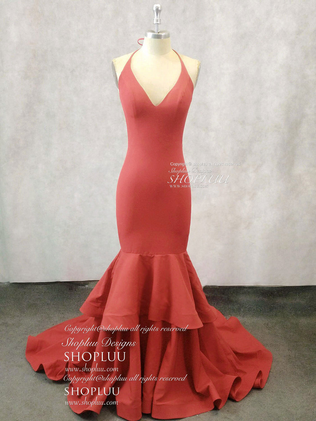 Simple red satin mermaid long prom dress, red evening dress