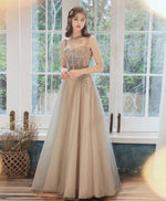 Simple sweetheart tulle lace applique long prom dress