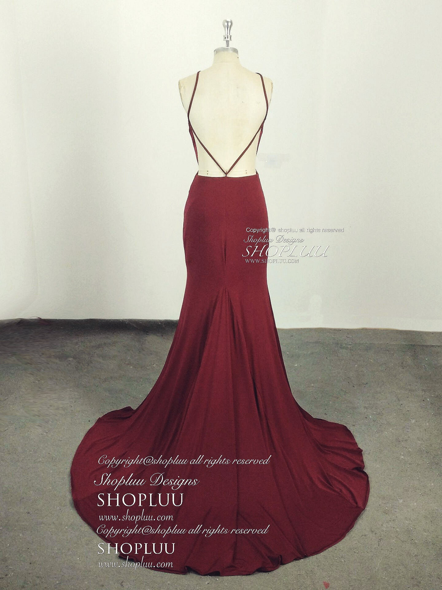 Simple burgundy backless mermaid long prom dress, burgundy evening dress