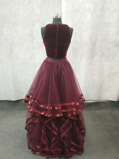 Simple burgundy two pieces tulle long prom dress, burgundy evening dress