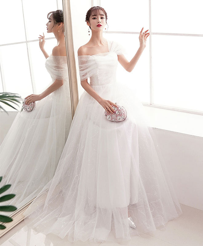 Elegant  white tulle long prom dress white tulle evening dress