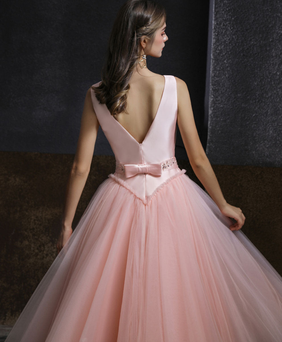 Pink round neck tulle short prom dress pink tulle bridesmaid dress