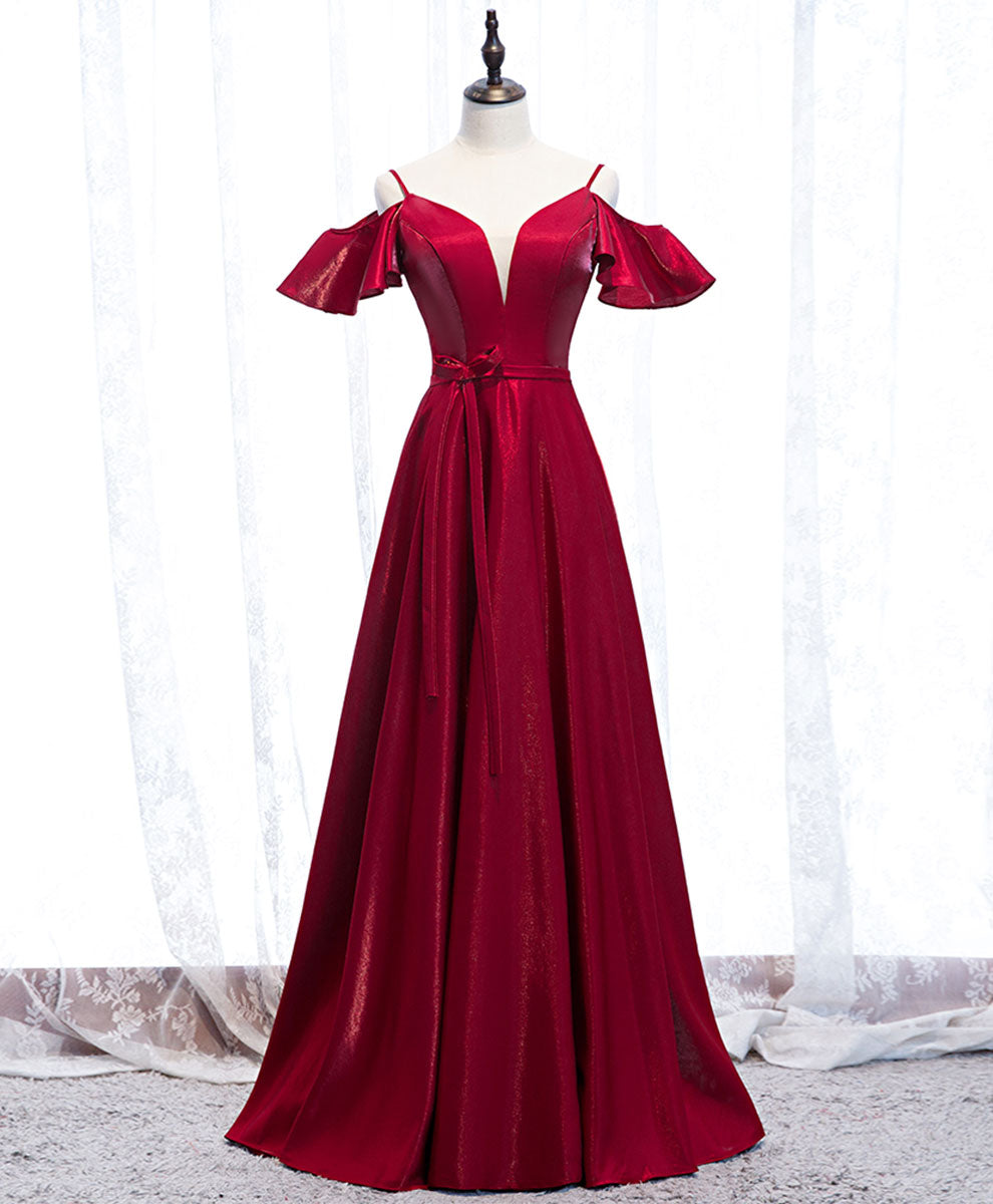 Simple satin burgundy long prom dress burgundy formal dress