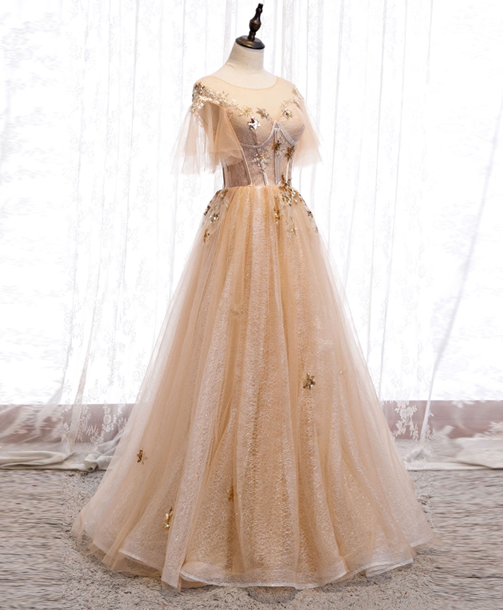 Champagne round neck tulle lace long prom dress formal dress