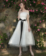 Cute tulle prom dress, white tulle bridesmaid dress