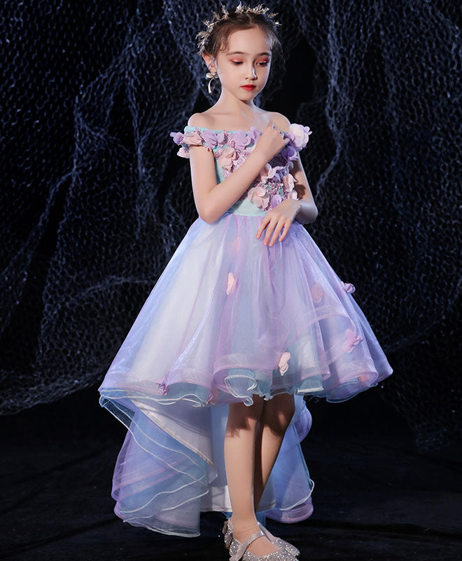 Purple lace tulle high low flower girl dress, prom dress