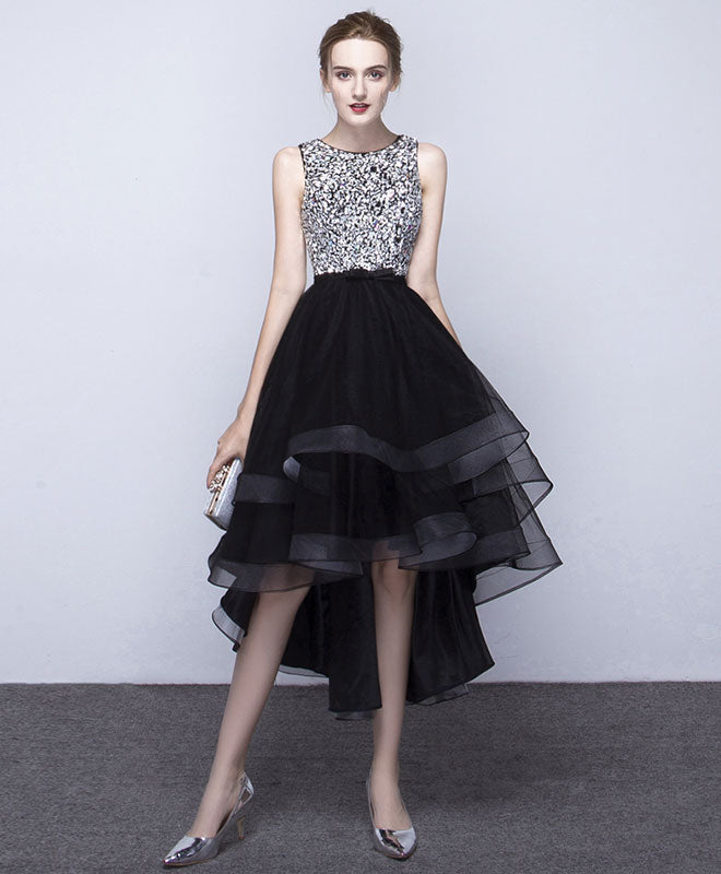 25a56025b50 Cute black tulle sequin prom dress