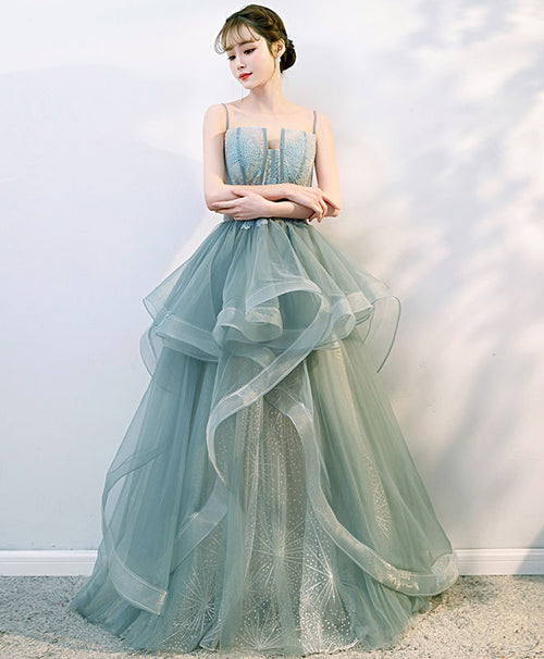 Green tulle lace long prom gown, tulle formal dress