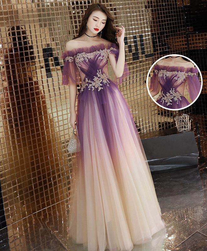 Elegant tulle lace long prom dress purple tulle evening dress