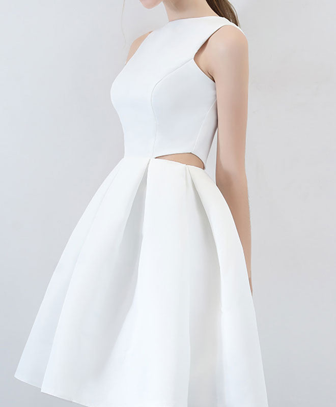 Simple white satin short prom dress, white homecoming dress