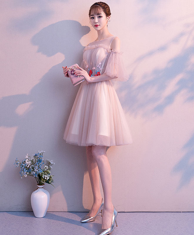Cute tulle round neck short prom dress, tulle homecoming dress
