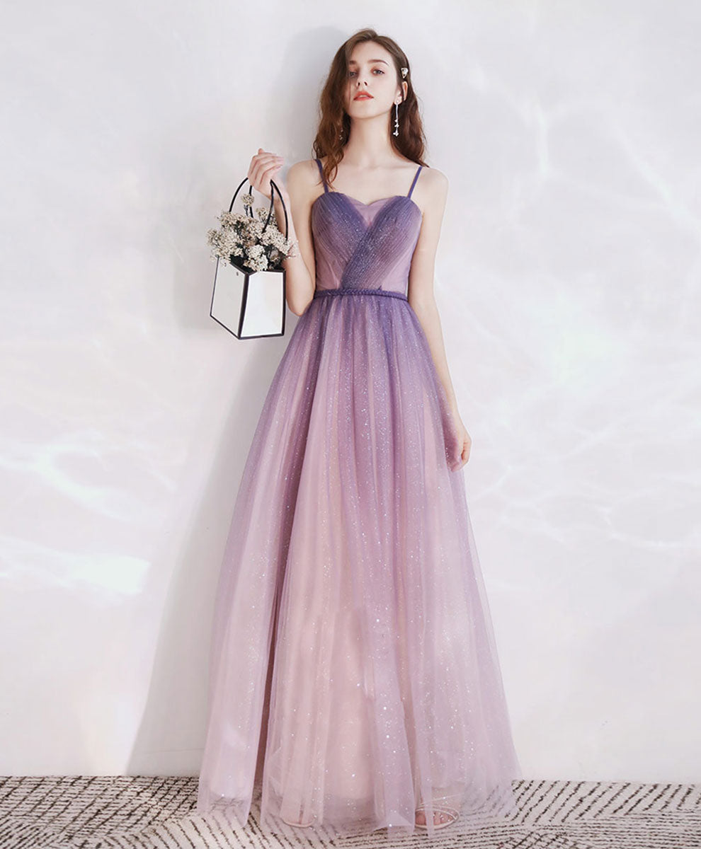 Purple tulle long prom dress tulle long evening dress