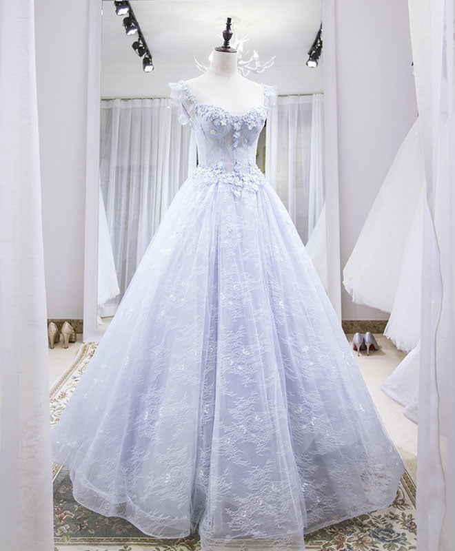 Light blue tulle lace long prom dress, blue evening dress