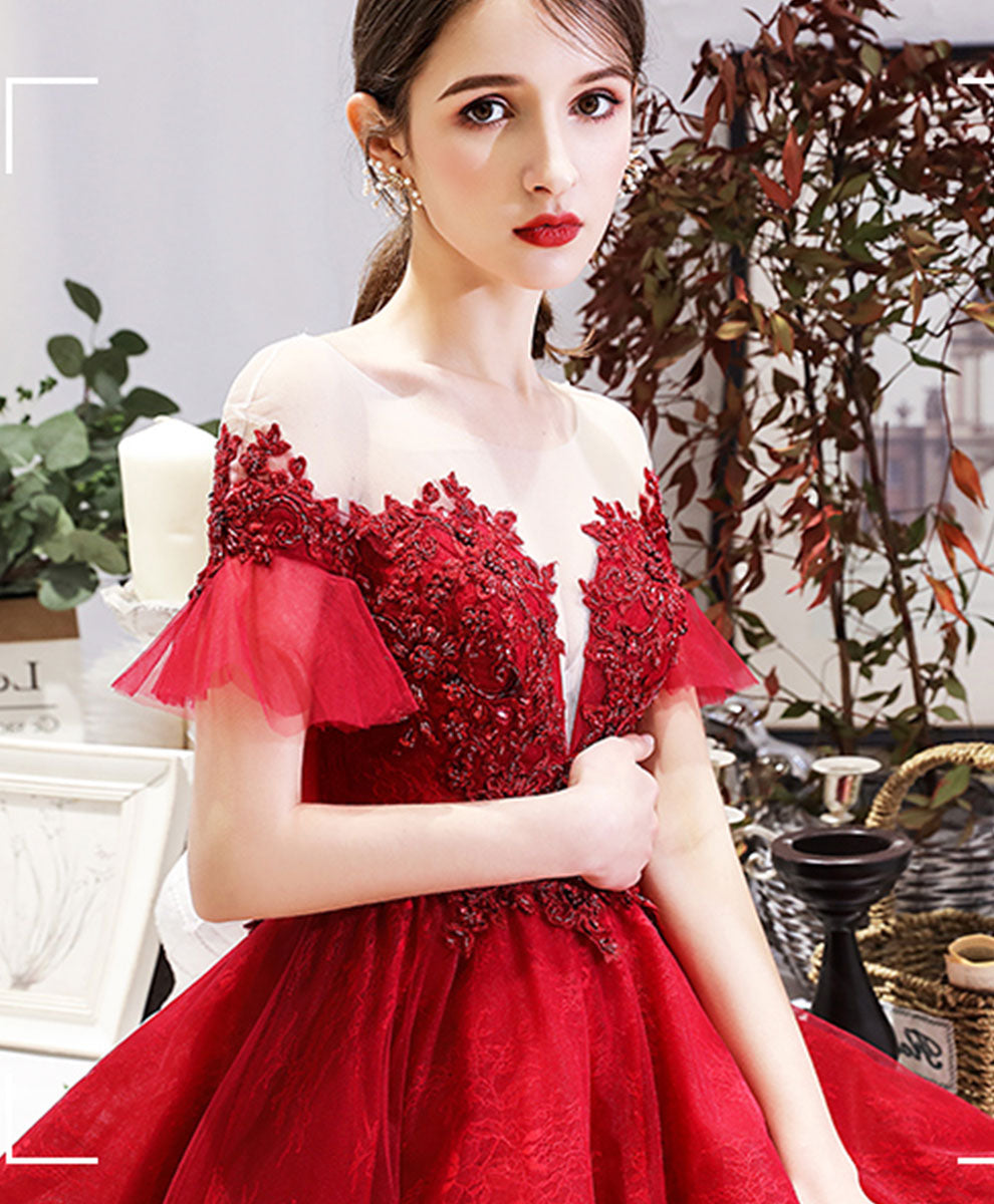 Burgundy round neck tulle lace short prom dress bridesmaid dress