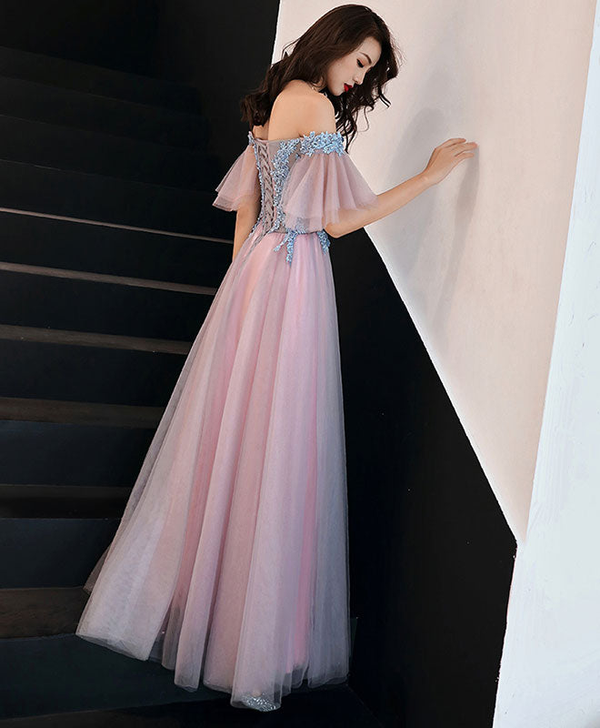 Pink tulle lace long prom dress, pink tulle lace bridesmaid dress