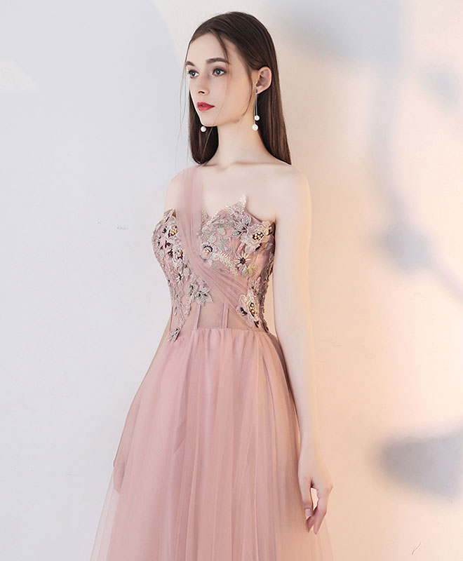Champagne pink tulle lace long prom dress, tulle lace evening dress