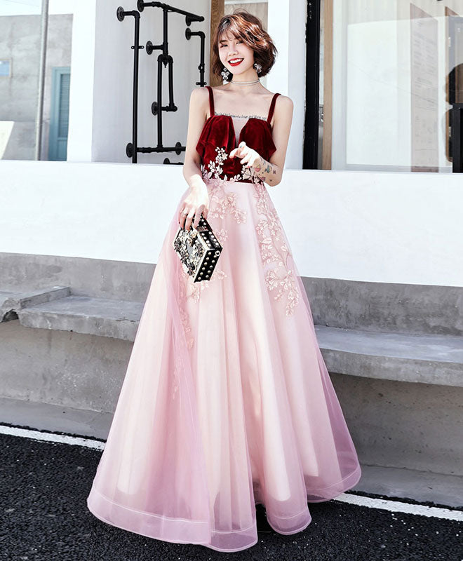 Pink sweetheart tulle lace long prom dress, pink evening dress