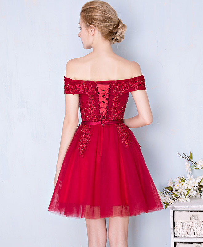 Burgundy lace tulle short prom dress, burgundy lace bridesmaid dress