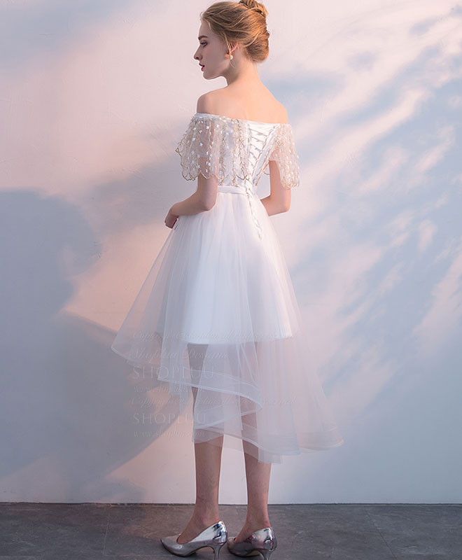 White tulle lace short prom dress, white homecoming dress