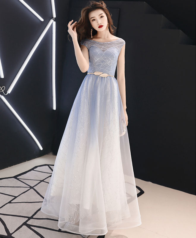 Blue round neck tulle long prom dress, blue tulle evening dress